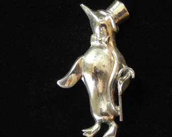 Lang Sterling Penguin with Top Hat and Cane Brooch