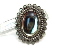 Oval Glass Mirrored Stone Mexico Silver Setting Brooch Vintage 1970s Hecho en Mexico Broach Pendant