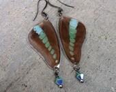 Butterfly Earrings, Real Blue Wings, Bohemian, Crystal Earrings, Blue Green, Earthy, Hippie, Boho Gypsy Organic, Natural Jewelry, BW114