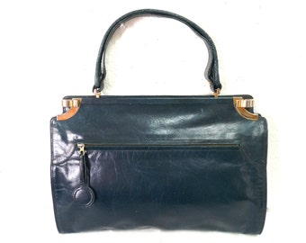 Vintage 80s Leather Bellido handbag by Susan Gail Navy Blue Gold Hardware Handbag