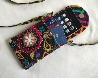 Iphone 6 Case Smart Phone Gadget Case Detachable Neck Strap Quilted Scandinavian Print Birds Multi Brown