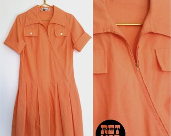 Comfy Cotton Vintage 60s 70s Peach Orange Shirt Dress with Unique Zipper and Pockets!