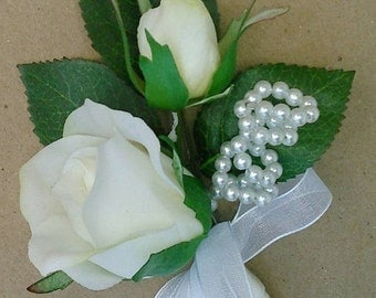Boutonniere OR Corsage Silk Ivory Cream Rose, Bud, Pearl Accent Wedding, Prom.
