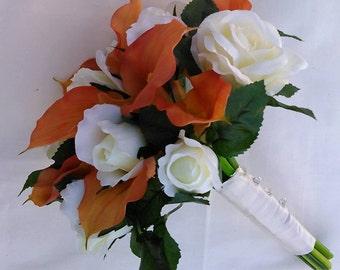 Orange Calla Lily, Ivory Cream Off-white Roses,Crystal Diamante Pin Silk Wedding Bridal Bouquet