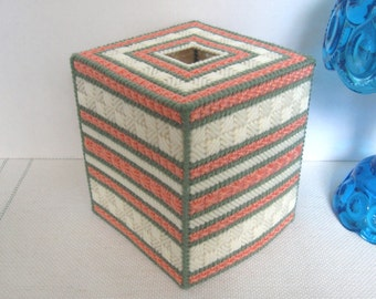 Plastic Canvas Boutique Tissue Box Cover - Sage Green/Coral/Cream