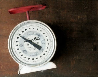 Antique Kitchen Scale, Antique Postal Scale, Way-Right Scale, General Store Scale, Red Rustic Decor, Kitchen Primitive