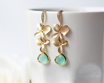 Mint Glass Matte Gold Orchid Earrings Cubic Zirconia Cascade Flower Dangle