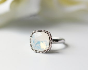 White Opalescent Swarovski Crystal Silver Ring White Opal Adjustable Free Size