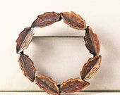 Vintage Bell Copper Circle Leaf Brooch Pin (B-4-3)