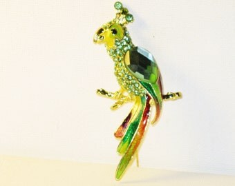 Vintage Large Green Rhinestone and Enamel Jelly Belly Parrot Brooch Pin (B-3-7)