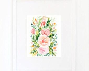 Watercolor Blush Roses Print