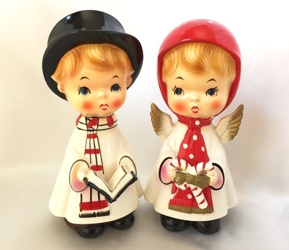 Singing Carolers Candleholders Figurines Vintage By: Vintage Blume Japan Ceramic Christmas Carolers Figurines
