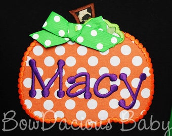 Girls Fall Pumpkin Shirt, Thanksgiving Shirt, Halloween Shirt, Monogrammed Pumpkin Shirt, Girls Thanksgiving Shirt, Girl's Pumpkin Shirt