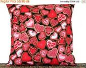 50% Off Sale Hearts Valentine Pillow Cushion Red Black Mocha White Metallic Decorative 18x18