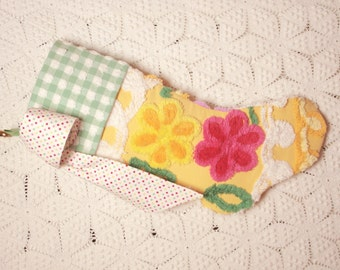Sunshine Yellow with Bright Flowers and Gingham Vintage Chenille Christmas Stocking