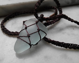 FOR HIM or HER - Surfer Macrame Pendant with genuine sea glass from Amalfi Coast
