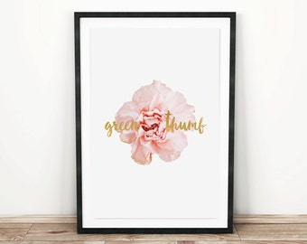 PRINTABLE wall art. Green Thumb series: CARNATION 11x14. botanical, green, room decor, modern, natural
