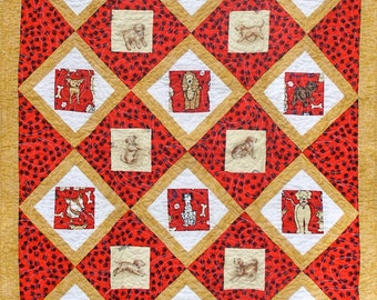 Handmade Baby Quilt Dogs Puppies Footprints Red and Gold