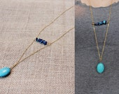 Turquoise & Lapis Lazuli Stone Necklace | 14k Gold Jewelry | Raw Gemstone Long Necklace