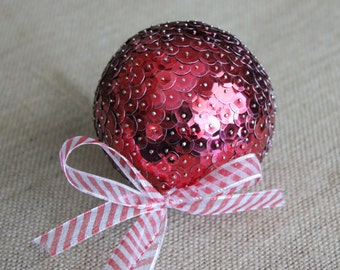 Red Sequin Ornament with Candy Cane Ribbon, Large Sequin Christmas Ornament, Red Christmas Tree Ornament, Christmas Decor