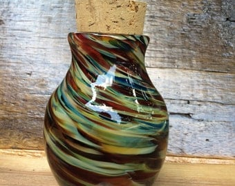 Colorful Thick Blown Glass Jar