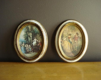Two Small Vintage Aged Frames with Old World Illustrations - Made in Italy