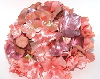 Large Metallic Peach Pink Hydrangea Bunch - Full Head - Artificial Flowers, Blossoms, Silk Flowers - PRE-ORDER