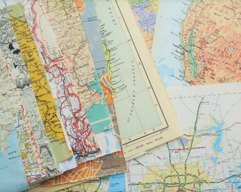 Vintage Map Atlas Paper Pack - 40+ Pieces for Collage, Art Journal Mixed Media - Map Paper Travel Themed Paper Mix - Atlas Map Pages