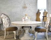 RESERVE JAMILLE Dining Table Painted Cottage Chic Shabby White French Round / Oval Dining Table