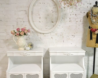 Painted Cottage Chic Shabby Romantic French Night Table NT841