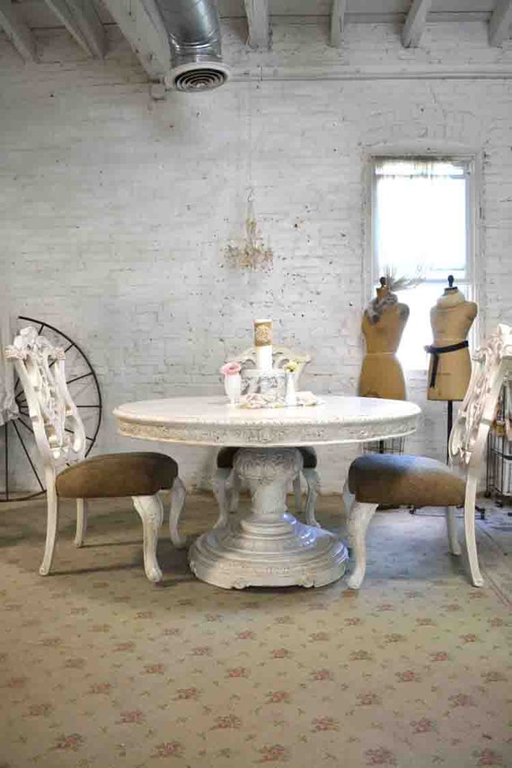 dining table painted cottage chic shabby white french round. Black Bedroom Furniture Sets. Home Design Ideas