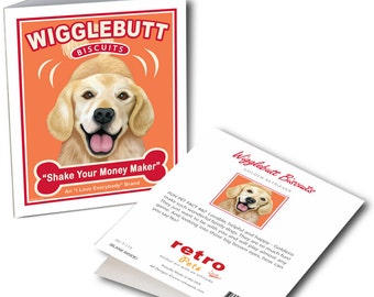 """Golden Retriever Cards """"Wigglebutt Biscuits"""" 6 Small Greeting Cards by Krista Brooks"""