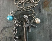Skeleton Key Necklace with Starfish & Seahorse Charm
