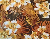 High fashion Shades of brown orange White Floral Fabric by the yard