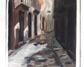 Vintage Oil Painting, Canvas Painting, European Street Scene, Wall Art, Old Painting
