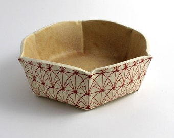 Six Sided Small Pottery Serving Bowl in Red and White