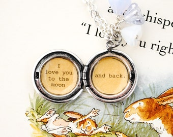 I love you to the moon and back - Girl's Locket - in antique silver - purple beads, daugther locket, mom locket