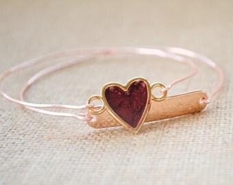 Candy Heart Bangle Bracelet Set - Rose Gold, Handstamped Initials, Date, Minimalist Bracelet, Valentine's Day