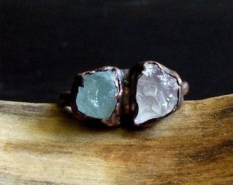 Raw Amethyst Aquamarine Copper Dual Stone Raw Crystal Ring Copper Size 8.5 February March Gemstone Birthstone Rough Stone Jewelry