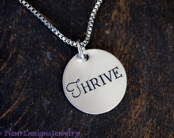 THRIVE Charm Necklace, Hand Stamped Charm Necklace, THRIVE Word Charm Necklace, Inspirational Jewelry