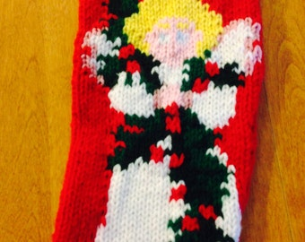 Angel Christmas Stocking, Personalized Angel Knit Stocking, Christmas Stocking Angel