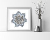 Abstract Art Particle Flower, denim blue and taupe, flower_9m. Limited edition Giclee print. San Francisco artist. Living room wall art