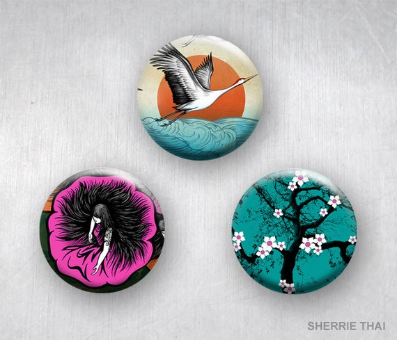 Graphic Asian Art, Animals Flying Crane, Flower Blossom, Floral Geisha Girl, Pinback Buttons by Sherrie Thai of Shaireproductions