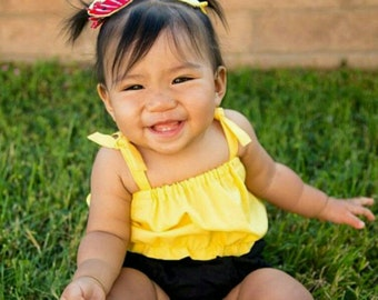 Yellow Crop Top - Baby Toddler Girls Top - Summer, Birthday Pics, Beach- Birthday Gift- Lots of Bloomers or Shorties to Match