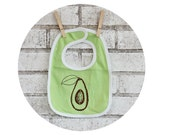 Avocado Baby Bib in Bright Green, Hand Printed Bib, Fresh Produce, Farming, Vegan, Vegetarian, fruits and Veggies, Boy or girl, Soft Cotton