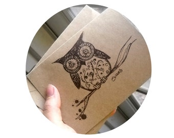 Woodland owl on a branch screen printed greeting card blank inside