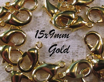 15mm Lobster Claw Clasp (lead and nickel free) - Gold Plated Brass - 6 pcs : sku 08.24.12.13 - C35