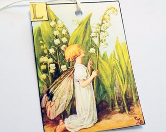 Lily Fairy Tags - Set of 3 - Lily Of The Valley - Vintage Fairy - Gift Tags - Thank Yous - Garden Tags - Flower Fairy - Fantasy Tags