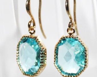 Aquamarine Earrings,Aqua Blue crystal Drop Gold Earrings, Aquamarine Octagone Stone Glass Earrings  - March Birthstone Earrings Mothers Day