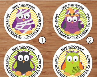 Halloween Owls - Custom Halloween Address Labels or Stickers